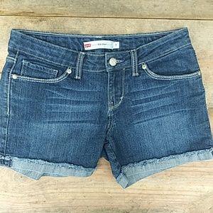 LEVI'S 5 Pocket Dark Rinse Midi Jean Shorts Sz7